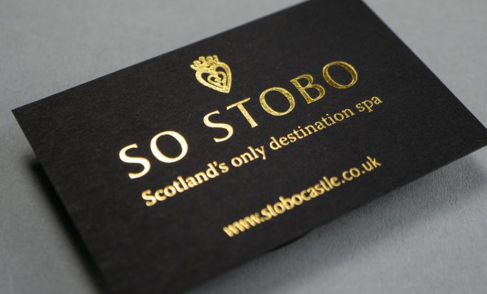 Stobo Castle business card, representing brand and corporate identity